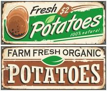 Retro Metal Signs Set With Farm Fresh Potatoes