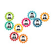 people and gears icon over white background. teamwork concept. colorful design. vector illustration