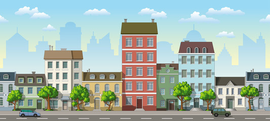Panel Szklany Seamless cityscape cartoon background with cars