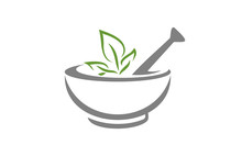 Mortar And Pestle Vector Design Represents Herbal Medicine, Pharmacy Logo, Signs And Symbols