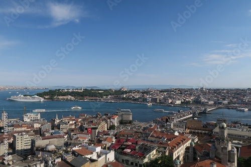 Poster Cruise Ship Near Topkapi Palace at the Golden Horn - Bosporus - in Istanbul, Turkey