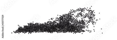 Fotografía  plastic granules composition on white background