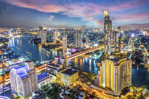 Aerial view of Bangkok modern office buildings, condominium, living place in Ban Poster
