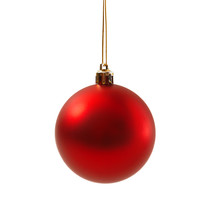 Red Christmas Ball Isolated On White Background New Year