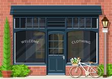 Graphic Fashion Shop Facade. S...