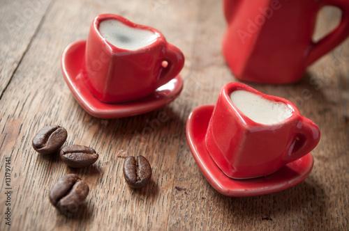 Deurstickers koffiebar tasse de café en forme de coeur
