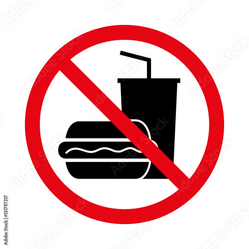 Fotografía  essen und trinken verboten - Piktogramm