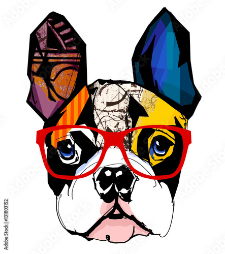 Autocollant pour porte Art Studio Portrait of french bulldog wearing sunglasses