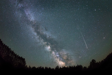 Milky Way galaxy and Shooting Star