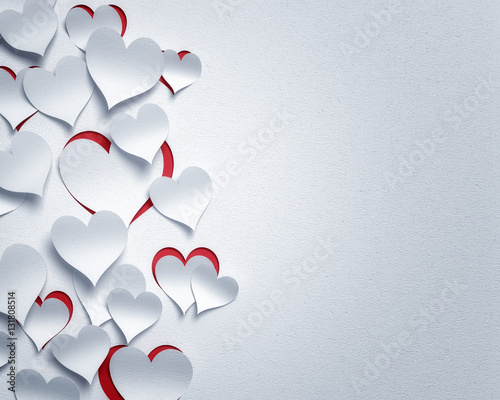 paper hearts  - 3D romantic  card / background ( love , valentine , wedding )