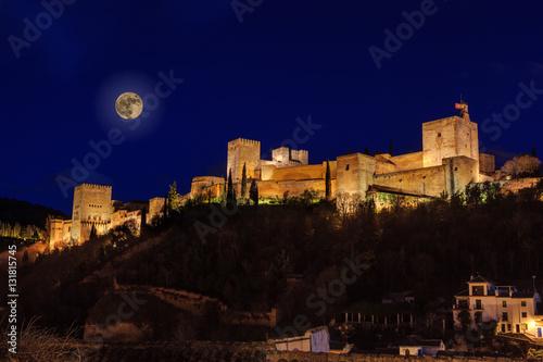 Staande foto Artistiek mon. Night view of the Alhambra with full moon
