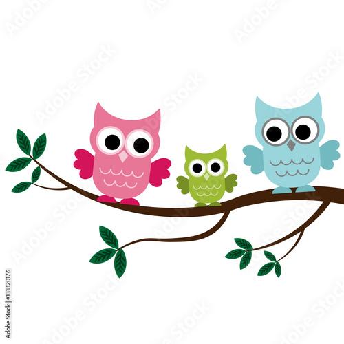 Poster Uilen cartoon Three Owls sitting on the branch