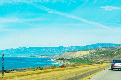 Spoed Foto op Canvas Turkoois Pacific coast highway on a sunny day