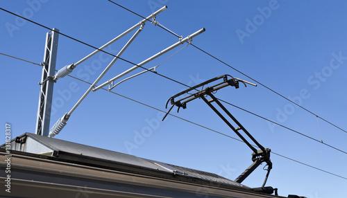 Vászonkép Pantograph and Catenary Wire