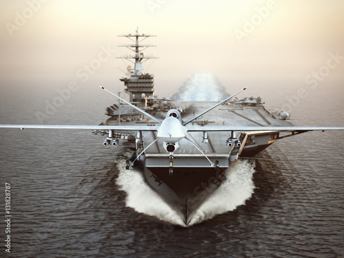 Military Drone aircraft launching from an aircraft carrier on a strike mission Poster
