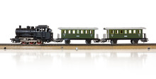 Vintage Model Electric Train On The Rails