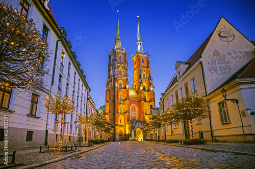 fototapeta na drzwi i meble The Cathedral of St. John the Baptist on Tumski island at night in Wroclaw, Poland
