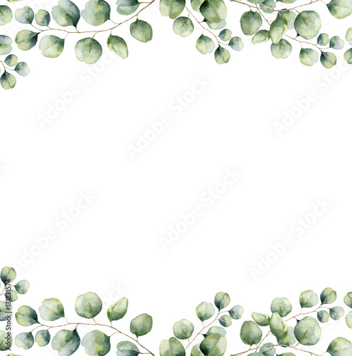 watercolor green floral frame card with silver dollar eucalyptus leaves hand painted border with branches