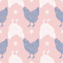 Seamless Pattern With Roosters And Snowflakes. Black White Silhouettes On Pink Background.