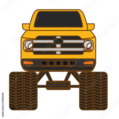 Fotobehang Snelle auto s pick up truck vehicle icon over white background. colorful design. vector illustration