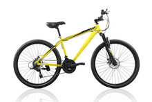 Yellow Bicycle Isolated On White Background With Clipping Path