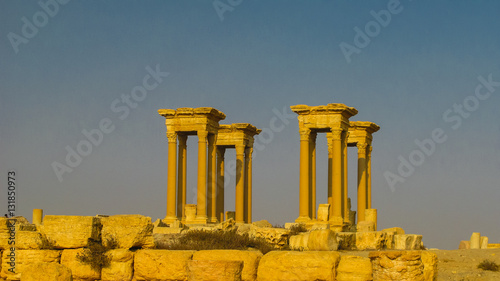 Poster Ruine Panorama of Palmyra columns and ancient city, destroyed by ISIS, Syria