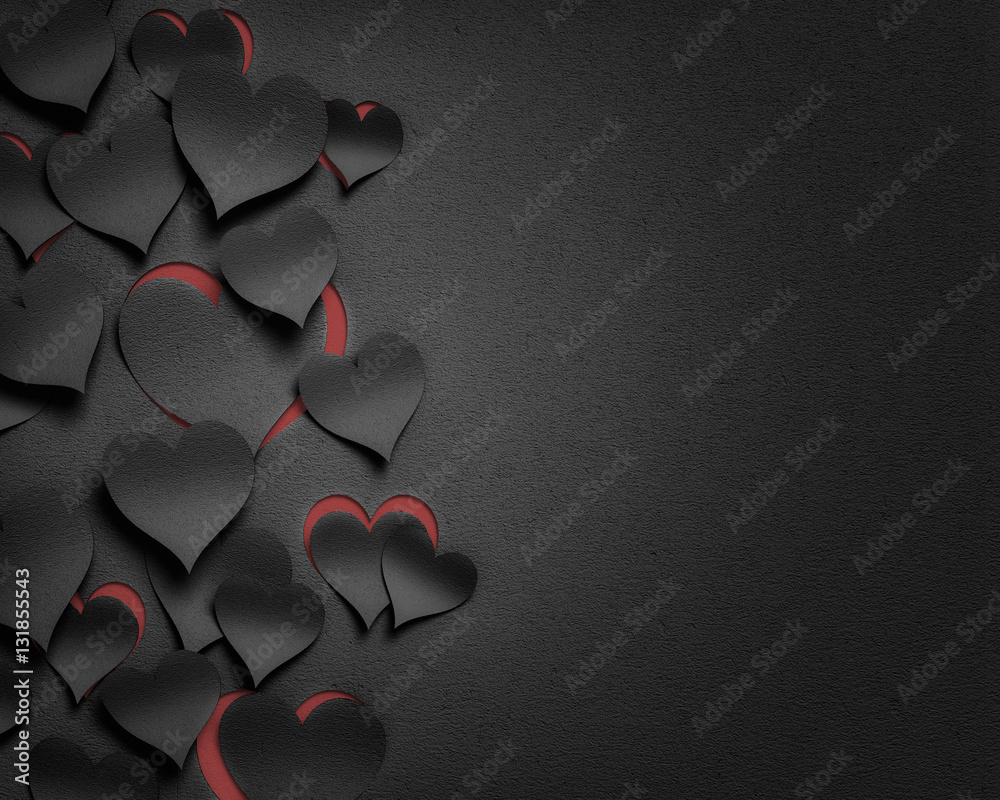 Fototapety, obrazy: paper hearts valentine's day  - 3D romantic card / background ( love , valentine , wedding )