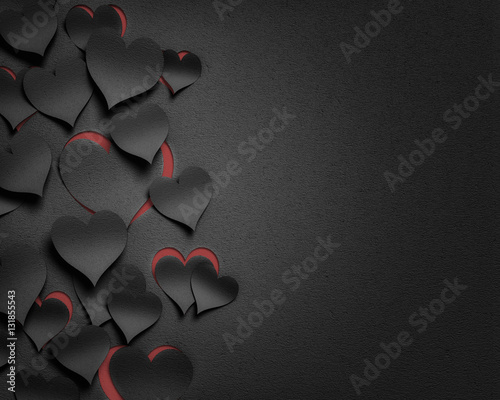 paper hearts valentine's day  - 3D romantic card / background ( love , valentine Fototapet