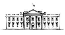 White House In Washington DC, USA, Vector Illustration Isolated On White Background