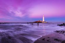 Twilight At St. Mary's Lighthouse, England
