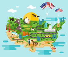 Infographics About America. Vector Illustration