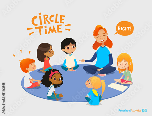 Kids Listen And Talk To Friendly Preschool Teacher During Educational Activity In Kindergarten Learning Through Play And Entertainment Concept Vector Illustration For Advertisement Banner Website Buy This Stock Vector And Explore