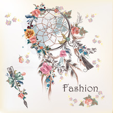 Illustration With Dreamcatcher And Flowers. Hand Drawn Design