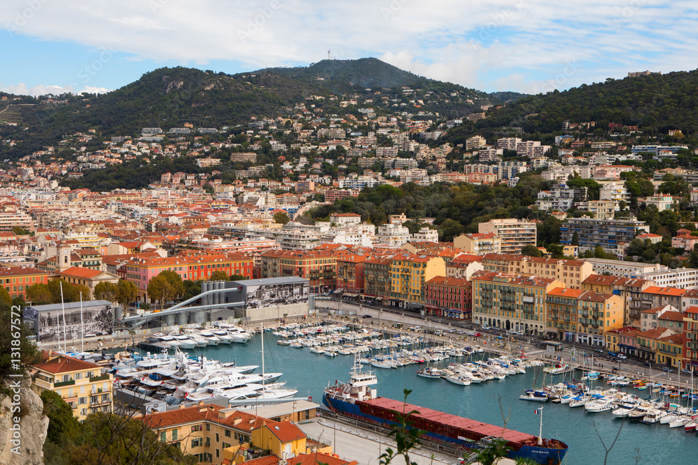 Aerial View on Port of Nice and Luxury Yachts