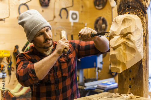 Wood Carver Manufacturing Traditional Krampus Mask Buy This Stock