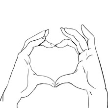 Hands In Heart Form, Sketch Black And White Vector Illustration
