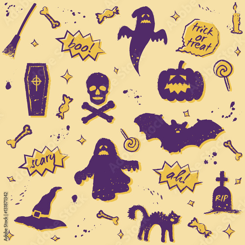 Cotton fabric vector seamless halloween pattern with purple elements on yellow background