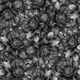 Bezszwowy akwarela wzór z czarny i biały peoniami. Ręcznie rysowane monochromatyczne akwarela ilustracja. Projekt dla tkanin, tekstyliów, papieru do pakowania, karty, zaproszenia, tapety, projektowanie stron internetowych. - 131880142