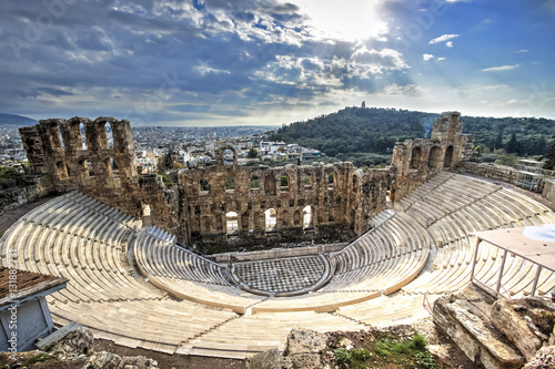 In de dag Athene Odeon Theatre in Athens, Greece