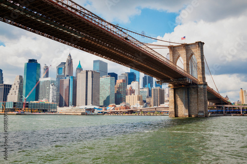 view of Manhattan with famous Brooklyn Bridge Canvas Print