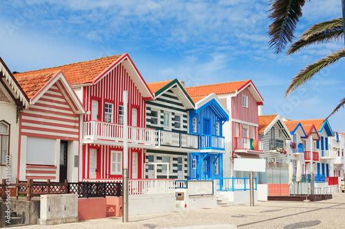 Houses of fishermen, Costa Nova, Portugal Canvas Print