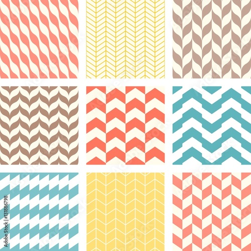 Set of chevron and zigzag seamless pattern - Buy this stock