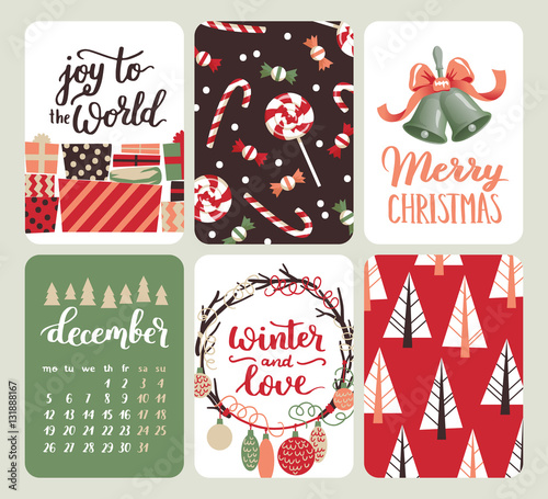 collection of six christmas and new year cute ready to use gift cards