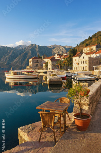 Poster Ville sur l eau Embankment of Perast town on a sunny winter day. Bay of Kotor, Montenegro