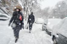 Snowstorm In Montreal. Pedestr...