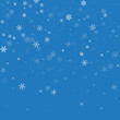 Sparse snowfall. Top gradient on blue background. Vector illustration.