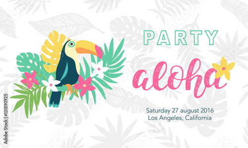 Photo Hawaiian party banner template