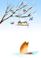 Fototapeta Do pokoju dziewczyny Postcard of a titmouse, bullfinch, cat and feeder on the tree.Greeting card of a animals.Winter image.Watercolor hand drawn illustration.