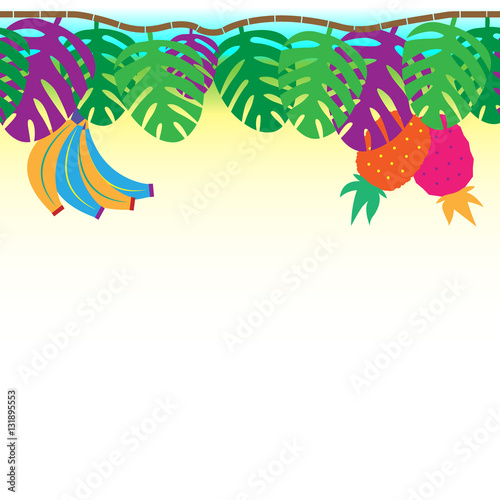 Foto op Canvas Bloemen vrouw Fun and tribal tropical vine with hanging palms, bananas and pineapples, seamless tiling background border