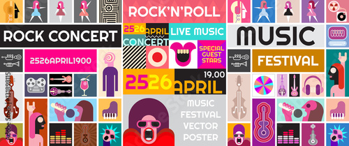 Door stickers Abstract Art Rock Concert Vector Poster